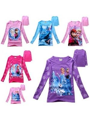 Frozen T-Shirt manica lunga bambina Anna e Elsa 000030-40