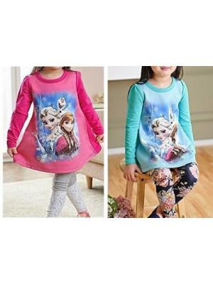 Frozen T-Shirt vestito corto manica lunga 000201