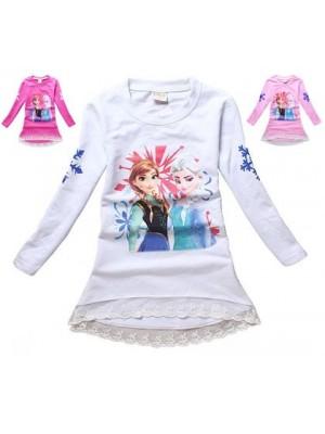 Frozen T-Shirt lunga manica lunga Anna e Elsa 000401-3