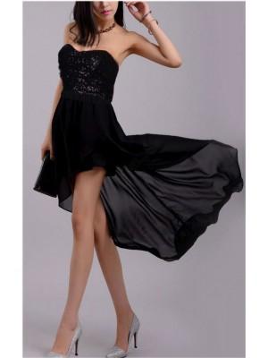 Vestito Donna mini coda Chiffon Cerimonia Party Club 110009