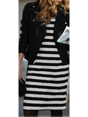Vestito Donna Maniche Lunghe a Righe 110033