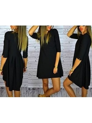 Vestito Corto Donna Nero Asimmetrico 110085