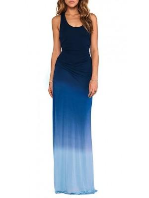 Vestiti Lunghi Donna Blu Mare Casual 110091