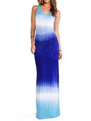 Vestiti Lunghi Donna Blu Mare Casual 110092