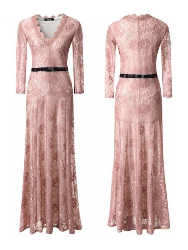 Vestito Lungo Pizzo Donna Autunno 110128