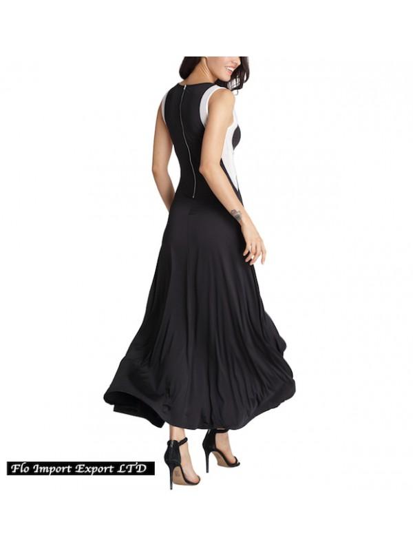 sports shoes c4f23 509ee Vestito Lungo Donna con Spacco Davanti Bianco e Nero 110247