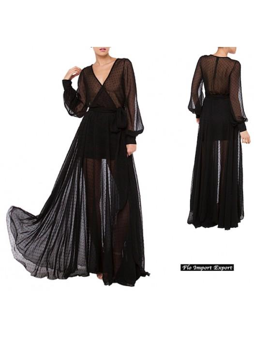online store b7d75 c3892 Vestito Donna Abito Lungo Chiffon Trasparente Pois 110279