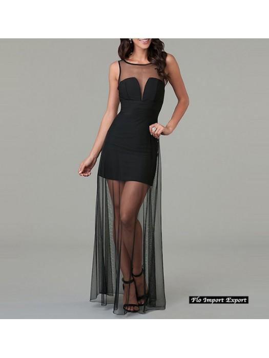 prezzo competitivo 661ec dbe2c Vestito Donna Abito Lungo Tulle Trasparente 110286