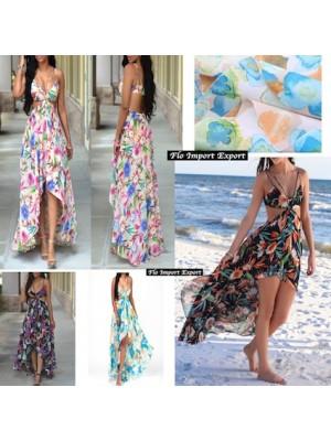 Vestito Abito Asimmetrico Donna Chiffon 110298-299-301-302