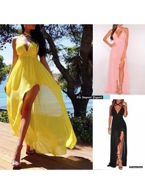 Vestito Asimmetrico Donna Cerimonia Chiffon 110321