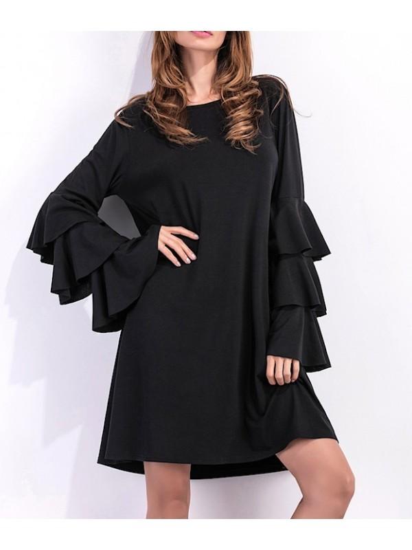 buy popular fcfc7 287e6 Vestito Donna Mini Abito Autunno Manica Lunga Larga 110331