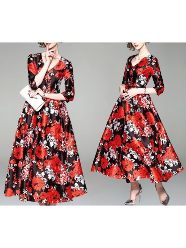 a7f419158584 Vestito Donna Abito Lungo Stampa Floreale Rosso e Nero 110359
