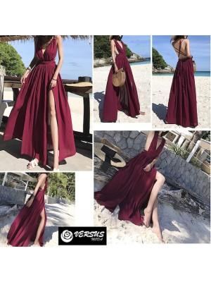 Vestito Donna Lungo Stile'70 Schiena Nuda 110414