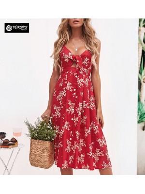 Vestito Donna Midi Scollo A V Allacciato Davanti Woman Summer Dress 110458