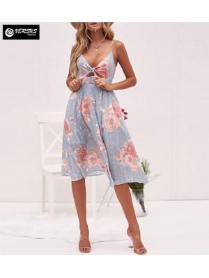 Vestito Donna Midi Scollo A V Allacciato Davanti Woman Summer Dress 110459
