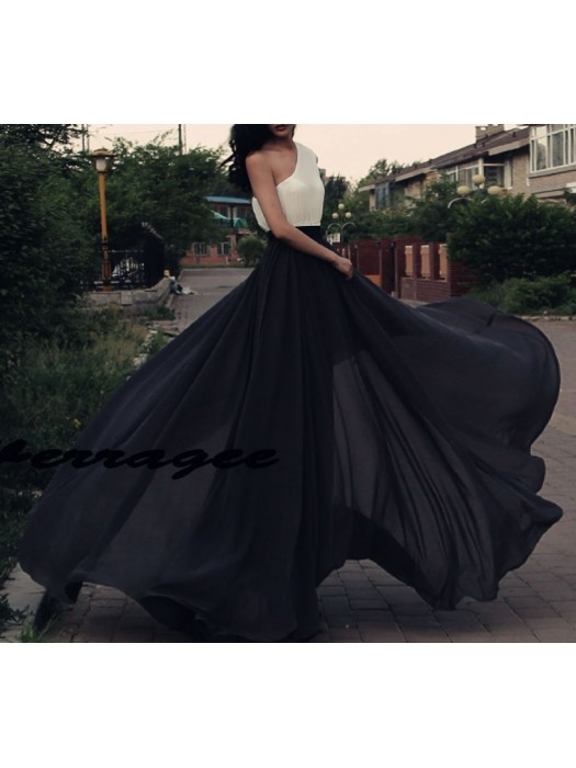 Gonna Lunga Donna Vita Alta Chiffon 130014