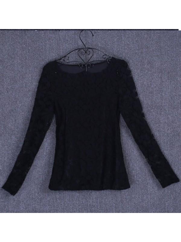 Maglia Maniche Lunghe Donna con Pizzo Woman T-Shirt Lace Top 330029B