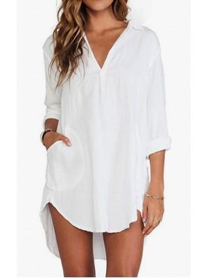 Camicia Donna Bianca Asimmetrica 541005