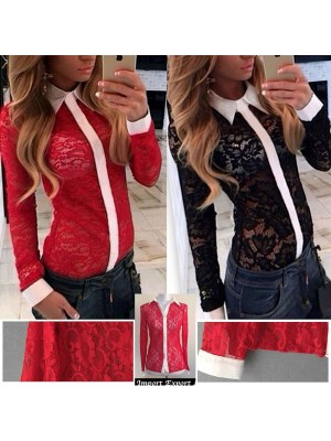 Camicia Donna Manica Lunga Casual Pizzo 541009