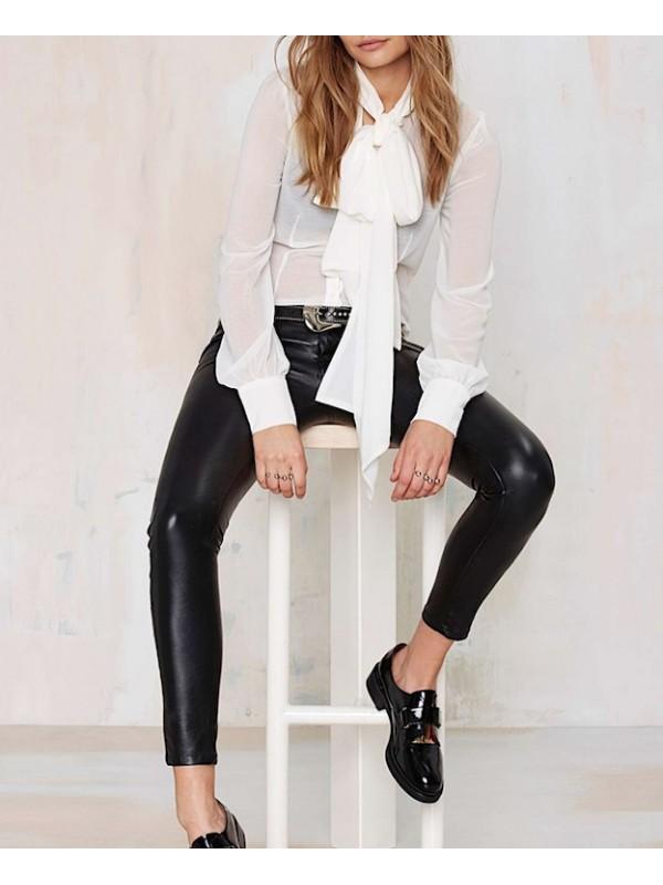 Camicia Donna Manica Lunga Collo Foulard 541011