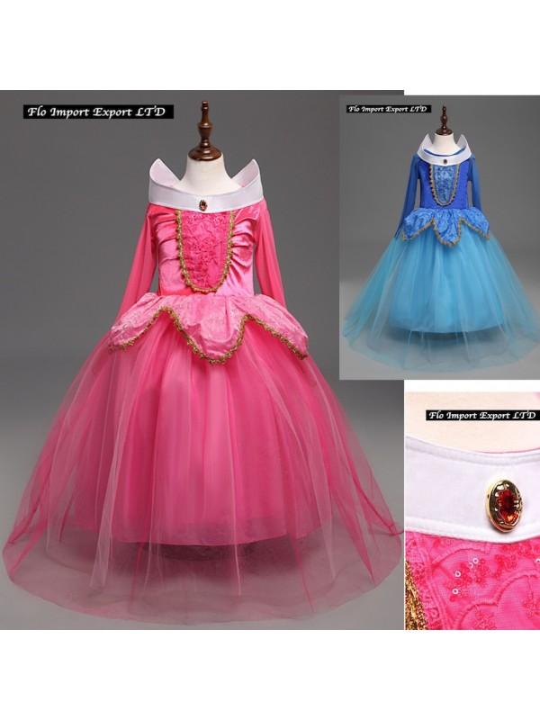 Ragazze Bella Addormentata Nel Bosco Costume Blu Bambini Princess Aurora Vestito