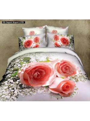 Set Letto Copri Piumone Lenzuolo Federe Rose BED0032