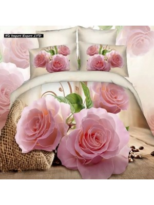 Set Letto Copri Piumone Lenzuolo Federe Rose BED0033