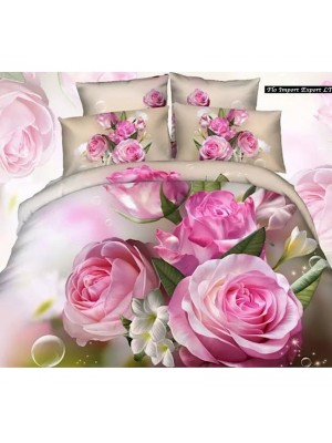 Set Letto Copri Piumone Lenzuolo Federe Rose BED0036