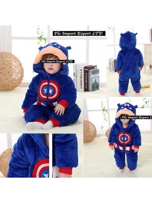 Capitan America Costume Carnevale Calda Tuta Pile Imbottita CABABY01