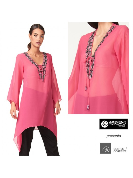 Camicia Caftano Donna Trasparente con Perline CC-CRO008