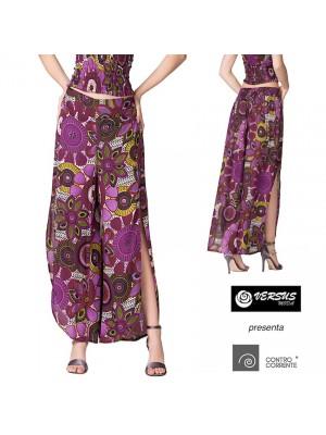 Pantaloni Donna Larghi Spacchi Laterali CC-TAS07D1