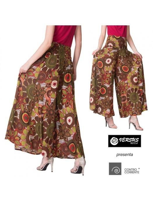 Pantaloni Donna Larghi Fantasia Etnica CC-TAS08D2
