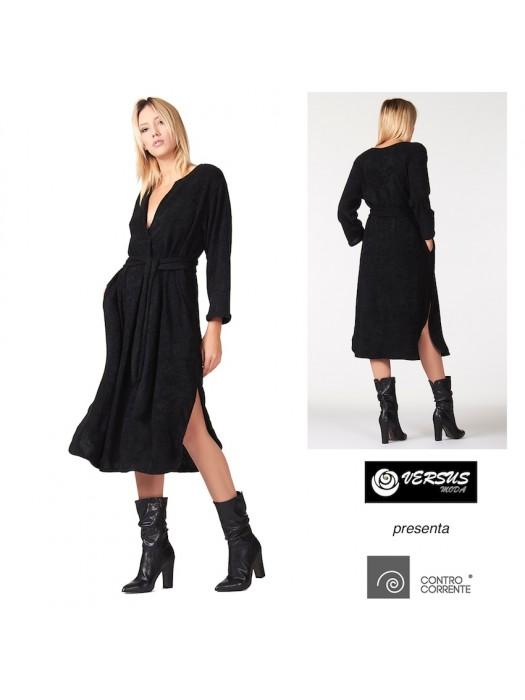 Vestito a Tunica Nero Donna Spacchi CONTROCORRENTE CC-TUN027A