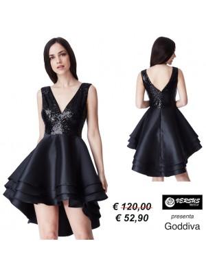 Vestito Mini Donna Cerimonia Raso Goddiva a più Strati CG-DR1317