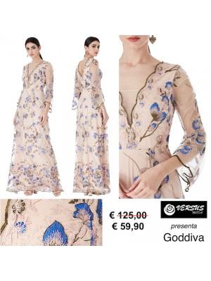 Vestito Donna Abito Lungo Ricamato Cerimonia Goddiva CG-DR1418