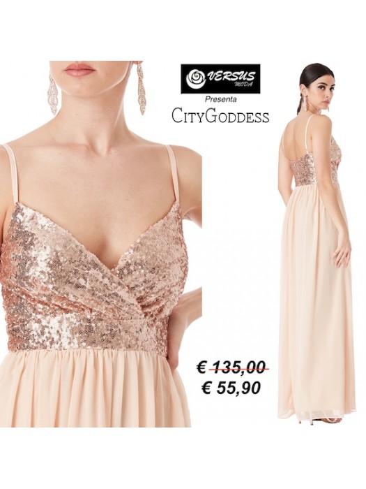 Vestito Lungo Donna Cerimonia Chiffon e Paillettes CG-DR1433PB