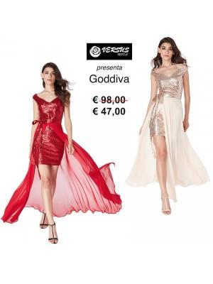 Vestito Mini Donna Cerimonia Goddiva e Gonna Chiffon CG-DR1678
