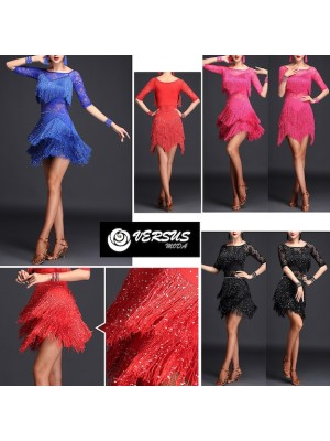 Vestito Frange Strass Spettacolo Charleston Ballo Danza CHARL01S