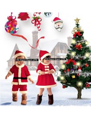 Vestito Costume Babbo Natale Recita Bambini CHSAN01-02