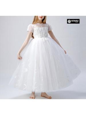 Vestito Bambina Cerimonia Comunione Festa Tulle COM037