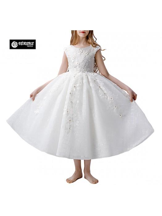 Vestito Bambina Cerimonia Comunione Corpetto Ricamato COM040