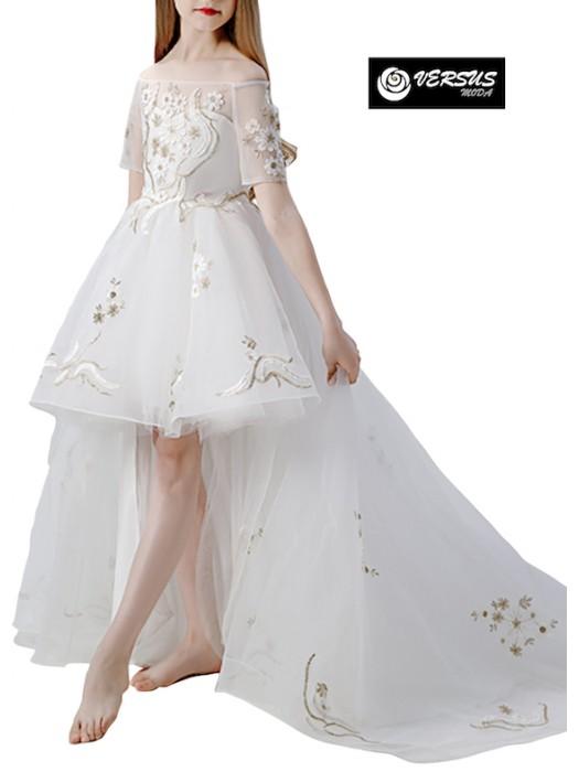 Vestito Bambina Cerimonia Comunione Asimmetrico COM042