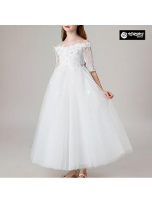 Vestito Bambina Cerimonia Comunione Festa Tulle COM044