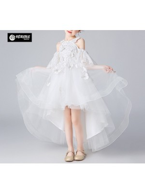 Vestito Asimmetrico Cerimonia Damigella Comunione Bambina Party Dress COM049