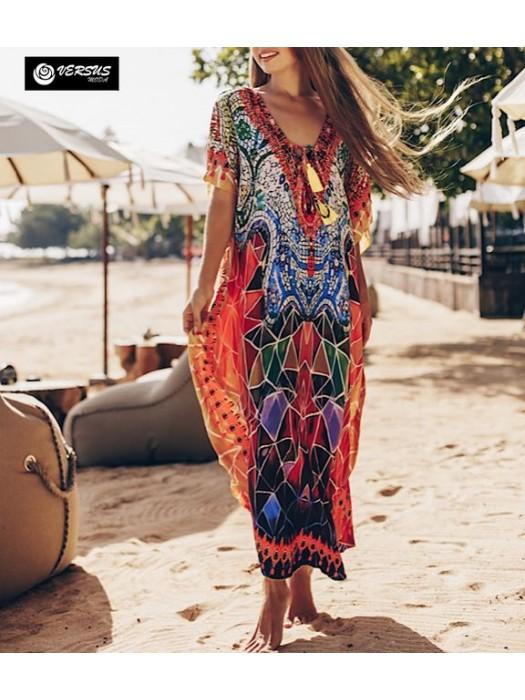 Vestito Lungo Copricostume Caftano Donna Maxi Dress Woman Kaftan COV0145