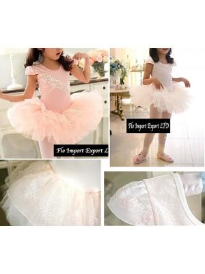 Vestito Tutù Saggio Danza Bambina Bianco e Rosa DANC002