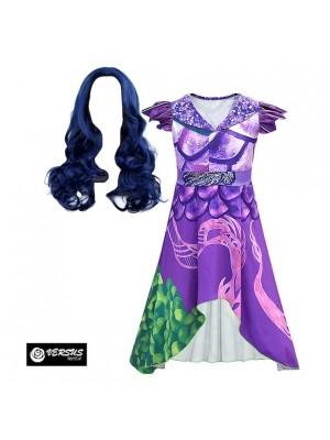 Simile Descendants Vestito Carnevale Mal Drago Party Dress 3 Cosplay DESC01