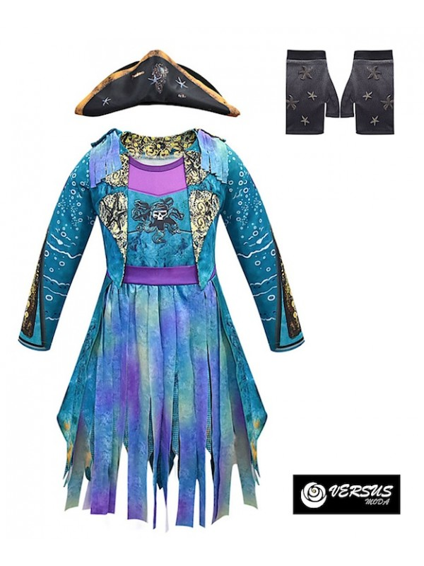 Simile Descendants Vestito Carnevale Uma Bambina Child Costume Dress DESC07