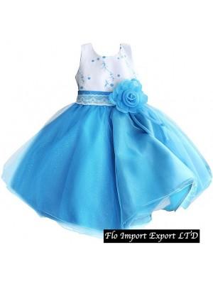 Vestito Bambina Cerimonia Tulle Azzurro DGZF013