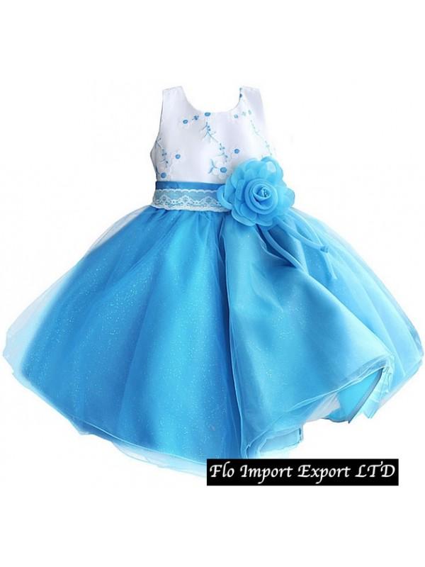 8ddf1add24ff Vestito Bambina Cerimonia Tulle Azzurro DGZF013